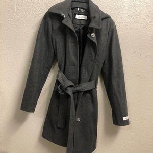 Calvin Klein Coat wool long belted hooded nwot